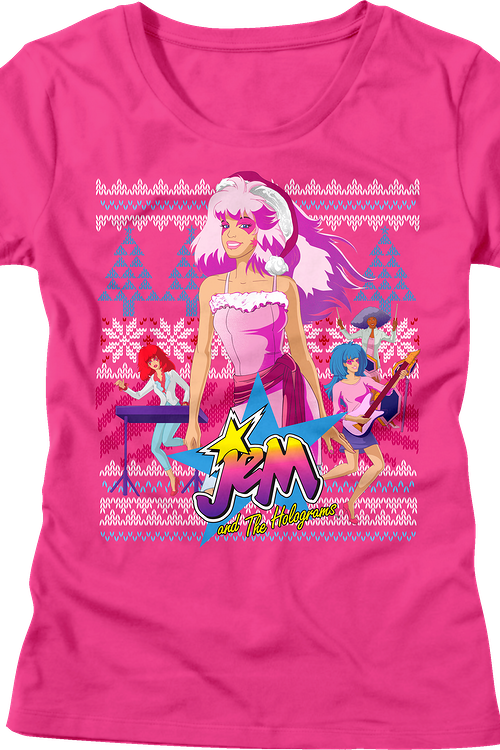 Junior Jem and the Holograms Faux Knit Christmas Shirt