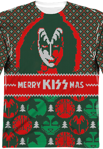 Kiss Band Ugly Faux Christmas Sweater Long Sleeve Tee
