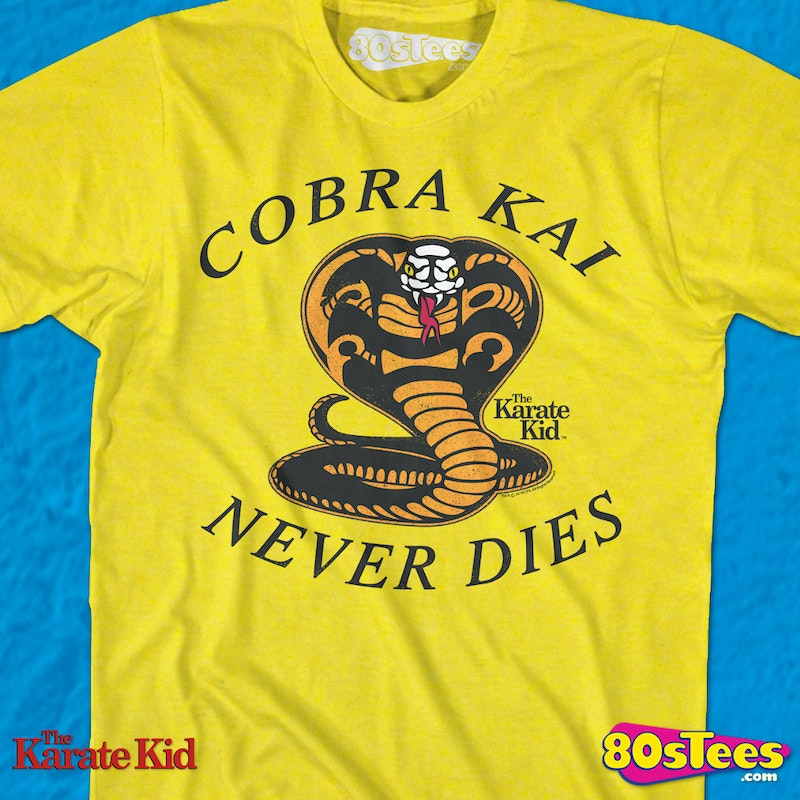 30ee5eee Yellow Cobra Kai Never Dies Karate Kid T-Shirt