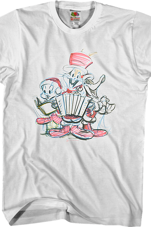 Christmas Caroling Sketch Looney Tunes T-Shirt