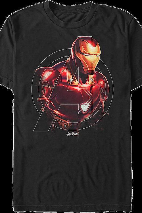 avengers logo iron man t shirt marvel comics mens t shirt. Black Bedroom Furniture Sets. Home Design Ideas