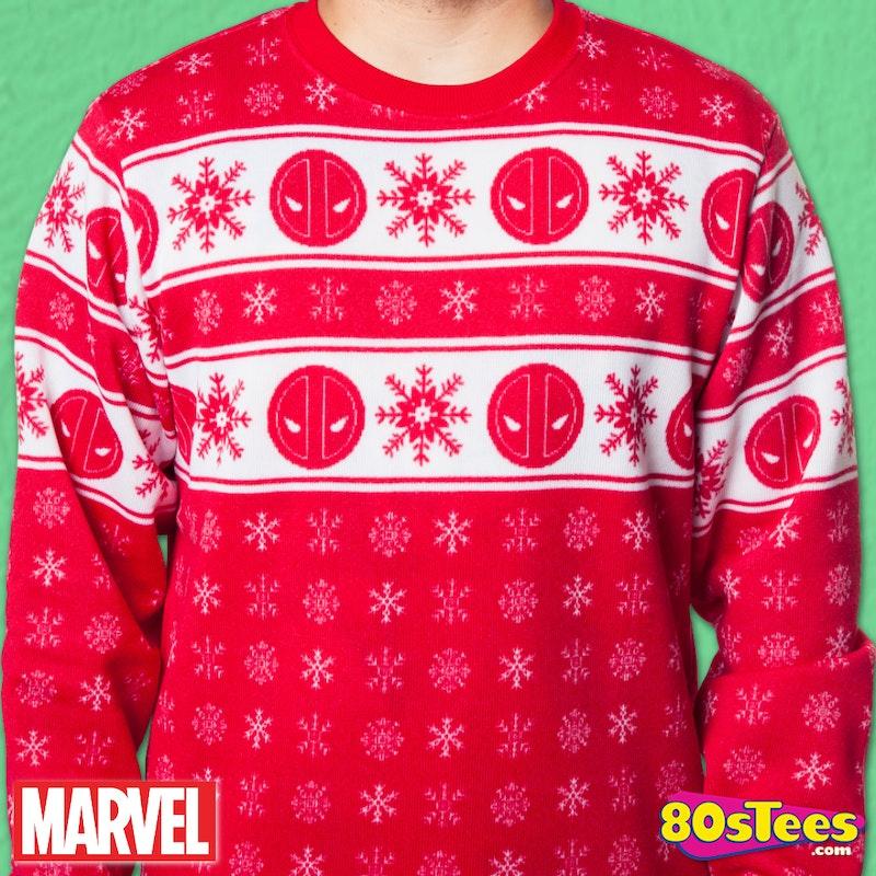 Deadpool Sublimated Faux Christmas Sweater Marvel Mens Sweatshirt