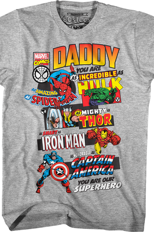 e4f3a18c1 Marvel Comics Father's Day T-Shirt: Marvel Comics Mens T-Shirt