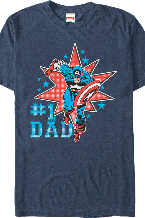 Number One Dad Captain America T-Shirt