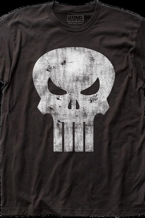 56698640d Distressed Logo Punisher T-Shirt: Marvel Comics Mens T-Shirt
