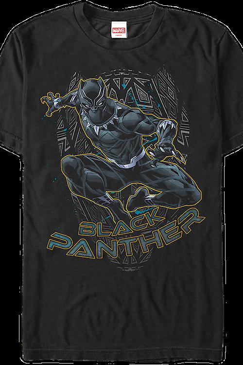 2cf8f6c042b29 Action Pose Black Panther T-Shirt  Marvel Mens T-Shirts