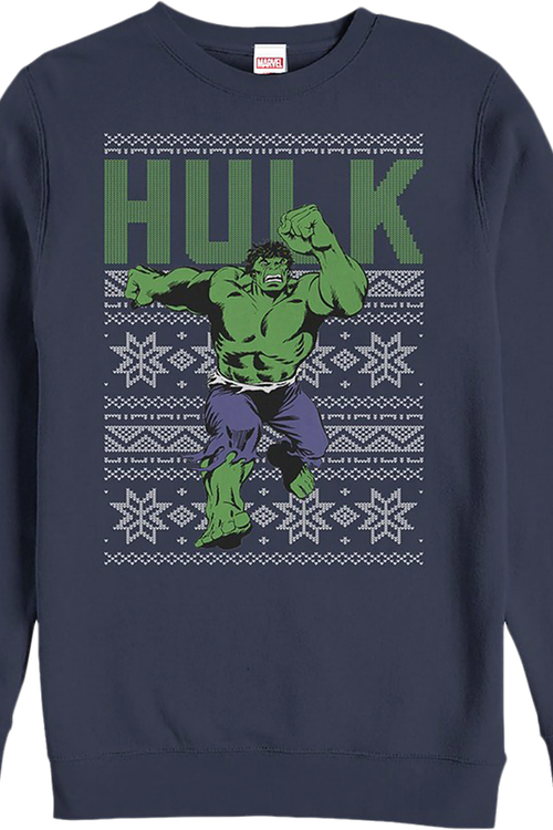 Faux Ugly Incredible Hulk Christmas Sweater