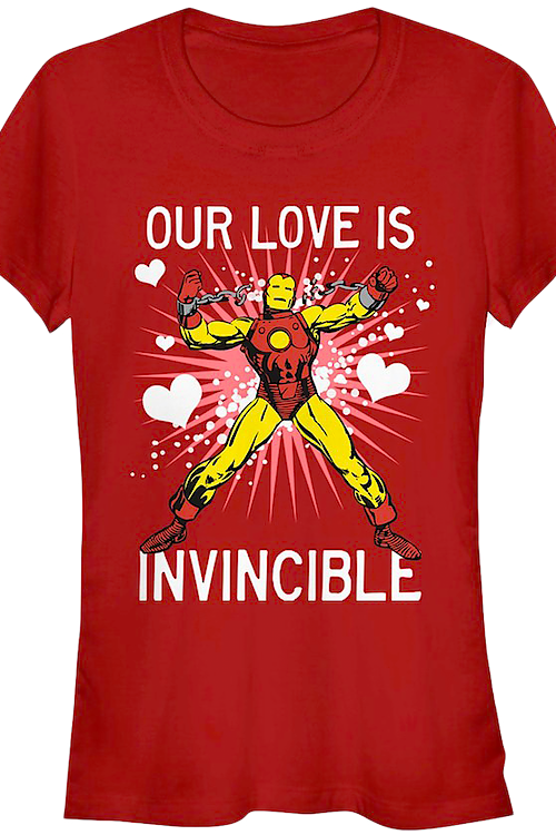 Junior Our Love Is Invincible Iron Man Shirt
