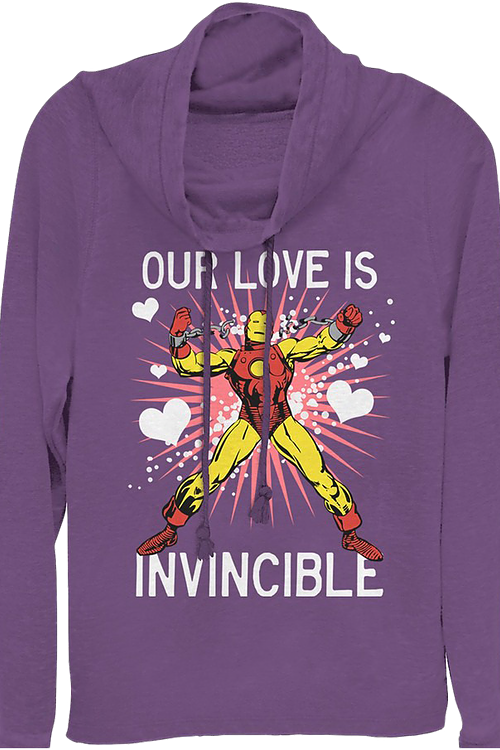 Ladies Our Love Is Invincible Iron Man Cowl Neck Sweatshirt