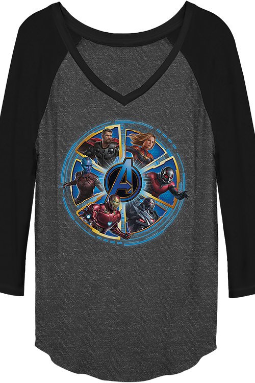 Ladies Wheel of Heroes Avengers Endgame V-Neck Raglan Baseball Shirt