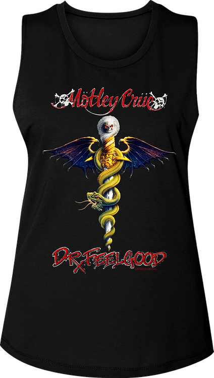 Ladies Dr. Feelgood Album Cover Motley Crue Muscle Tank Top