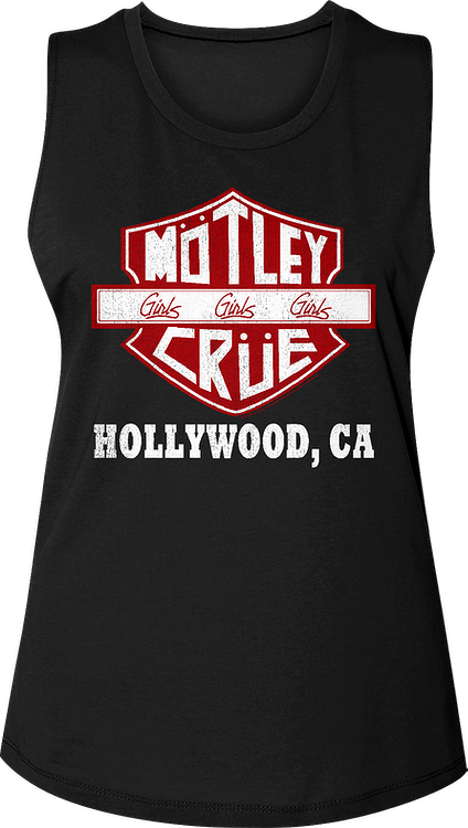 Ladies Motorcycle Logo Motley Crue Muscle Tank Top