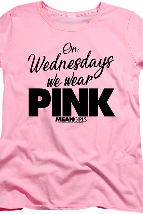 Womens Mean Girls On Wednesdays We Wear Pink Shirt