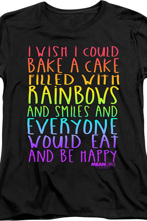 Womens Mean Girls Cake Filled With Rainbows Shirt