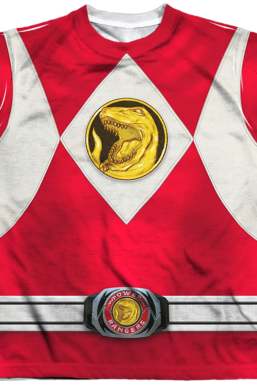 Youth Red Ranger Sublimation Costume Shirt