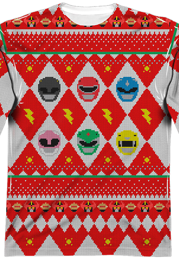 Power Rangers Ugly Faux Christmas Sweater Long Sleeve Tee