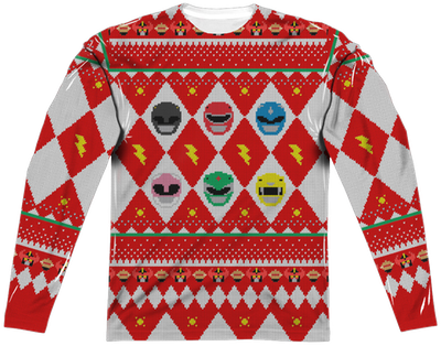 Power Rangers Christmas Sweater Power Rangers Mens Long Sleeve Shirt