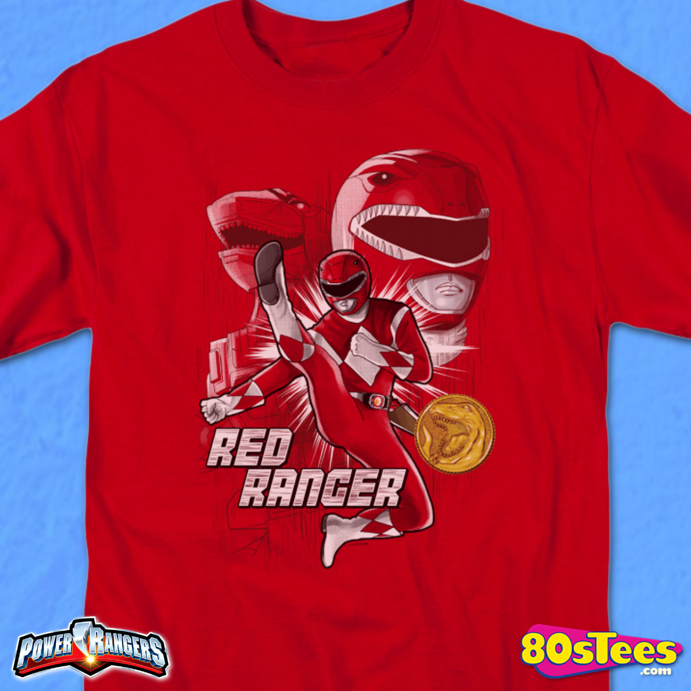 Mighty Morphin Power Rangers Red Ranger Mens T-Shirt