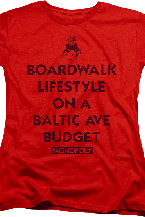 Womens Red Boardwalk Lifestyle Monopoly Shirt
