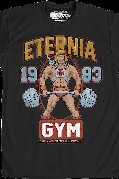 cbbcef1ed392fe MOTU Eternia Gym He-Man T-Shirt  Masters of the Universe Mens T-Shirt