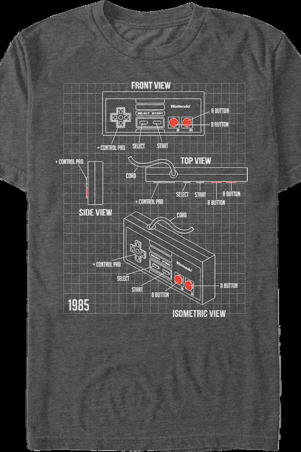 Nintendo Controller Schematic T-Shirt