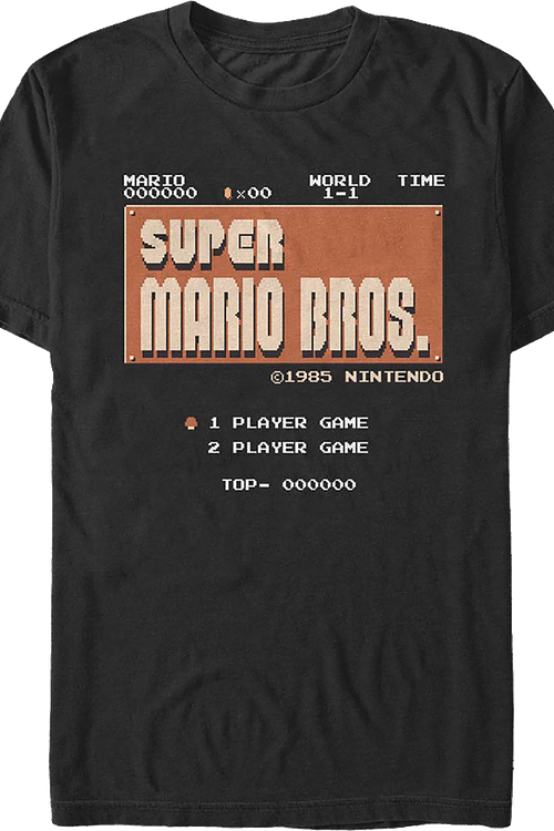 Super Mario Bros. Start Screen Nintendo T-Shirt