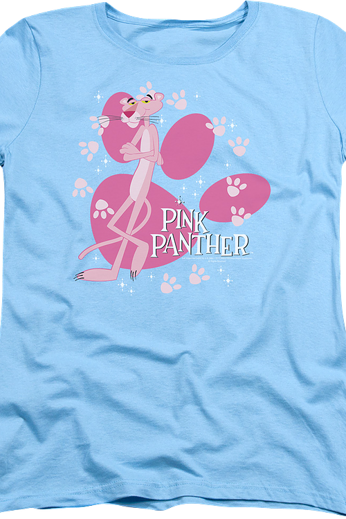 Womens Paw Prints Pink Panther Shirt