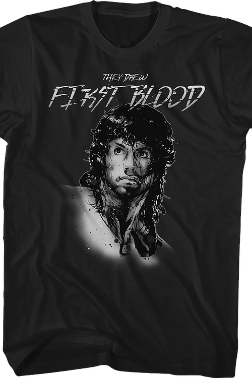 Rambo They Drew First Blood Black T-Shirt