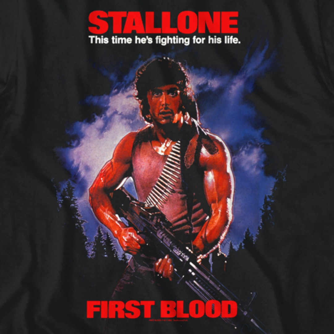 Rambo First Blood Movie Poster Men/'s T Shirt Stallone Fighting For His Life Army