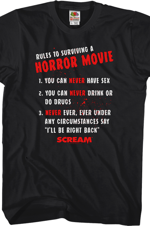 Rules To Surviving A Horror Movie Scream T-Shirt