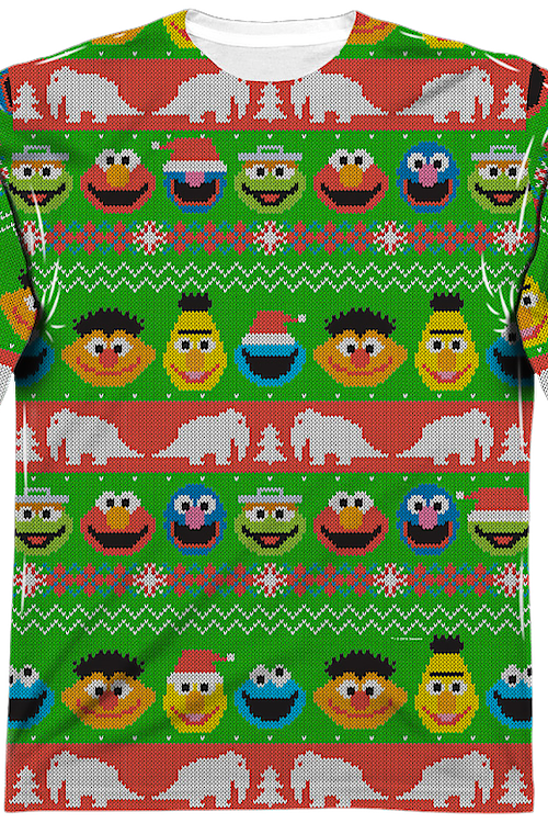 Sesame Street Sublimated Ugly Faux Christmas Sweater Long Sleeve Tee