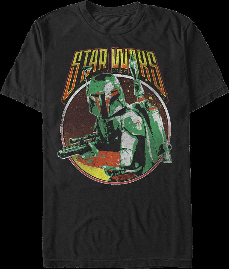Men/'s Star Wars Retro Boba Fett Black T-Shirt
