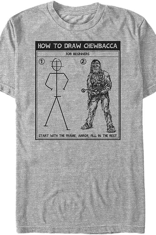 How To Draw Chewbacca Star Wars T-Shirt