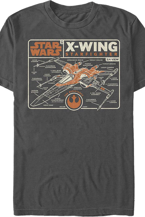 X-Wing Starfighter Schematic Star Wars T-Shirt
