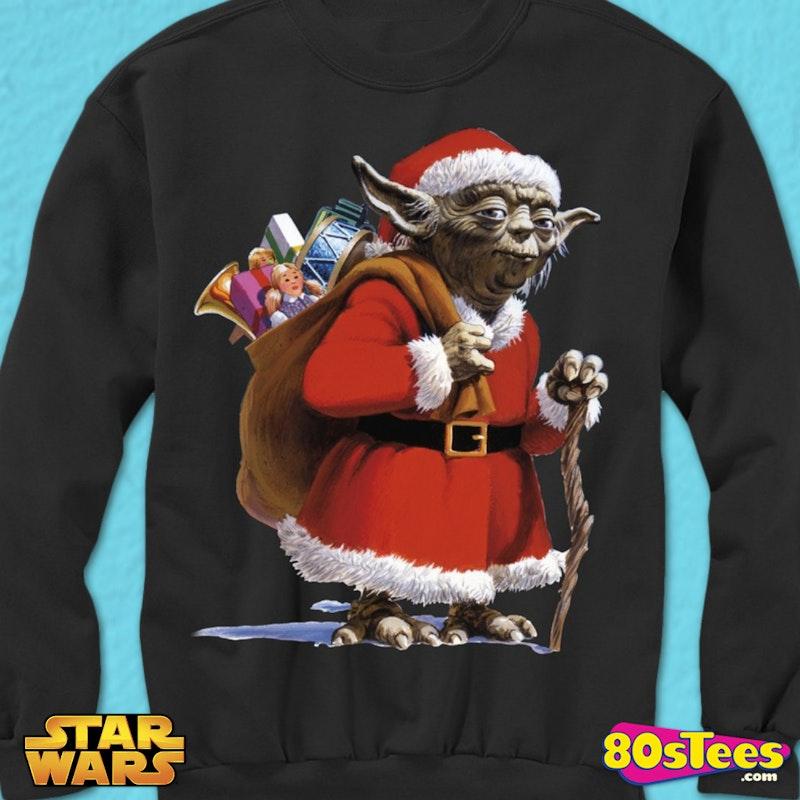 4f4b76b3524c Star Wars Yoda Dressed as Santa Claus Ugly Faux Christmas Sweater