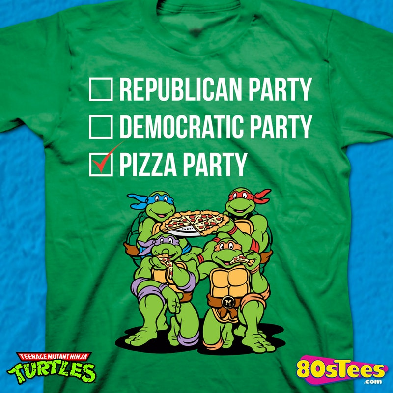 Vote Pizza Party Teenage Mutant Ninja Turtles T Shirt