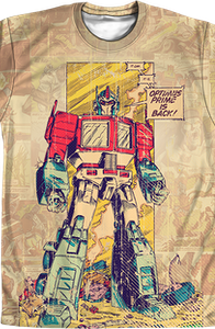 Comic Panel Optimus Prime Transformers Shirt