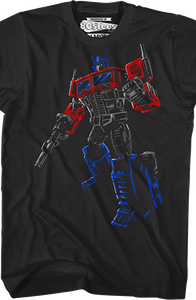 Brush Stroked Optimus Prime Transformers T-Shirt