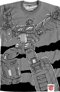 Charcoal Sublimation Optimus Prime Transformers Shirt