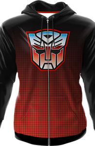 Icon Fade Activewear Autobot Transformers Premium Zippered Hooded Jacket