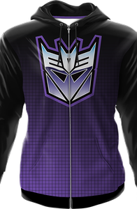 Icon Fade Activewear Transformers Decepticon Premium Zippered Hooded Jacket