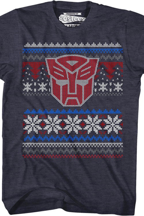 Autobot Faux Ugly Christmas Sweater Transformers T-Shirt