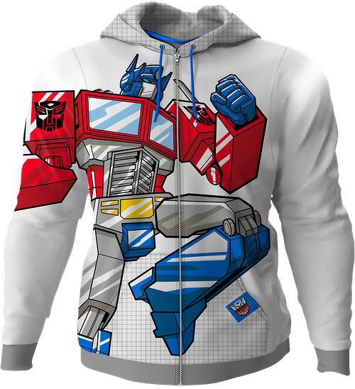 Optimus Prime Transformers Premium Zippered Hoodie