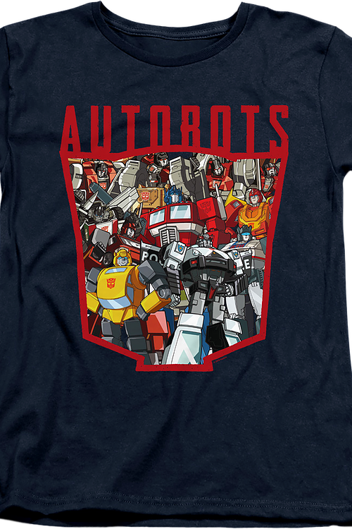 Womens Autobots Logo Collage Transformers Shirt