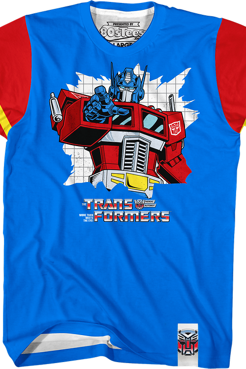 Optimus Prime Vintage Striped Sleeve Transformers T-Shirt