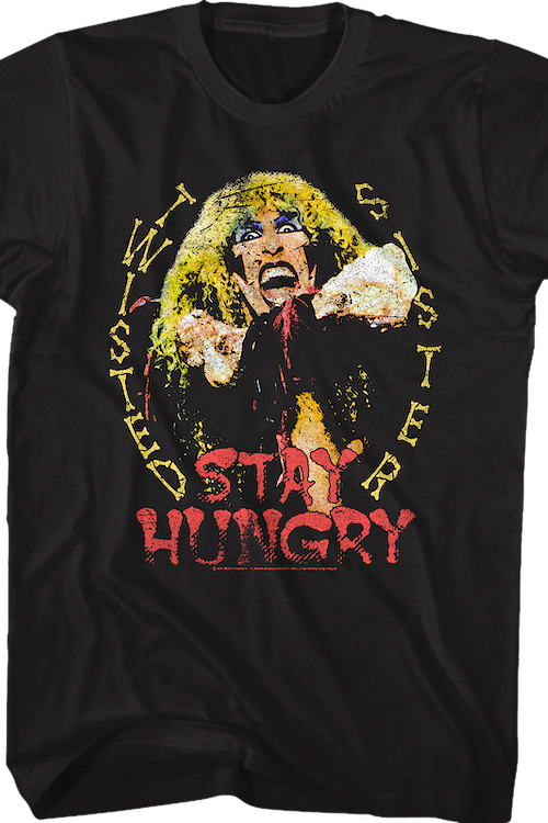 Distressed Stay Hungry Twisted Sister T-Shirt