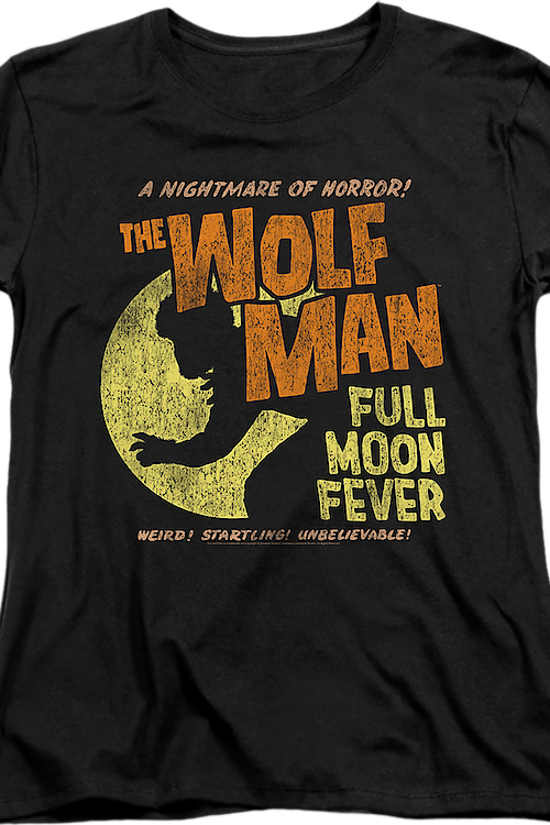 Womens Full Moon Fever Wolf Man Shirt