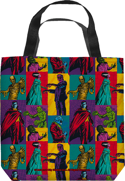 Pop Art Universal Monsters 18 x 18 Trick or Treat Tote Bag