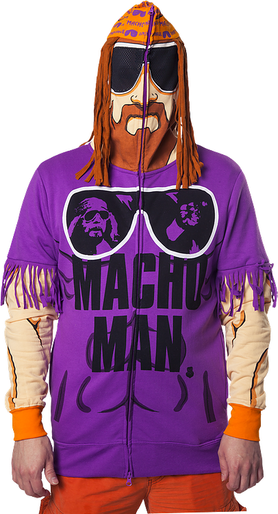 3d40c33bf4d883 Macho Man Randy Savage Costume Hoodie  Wrestling Mens Hoodies