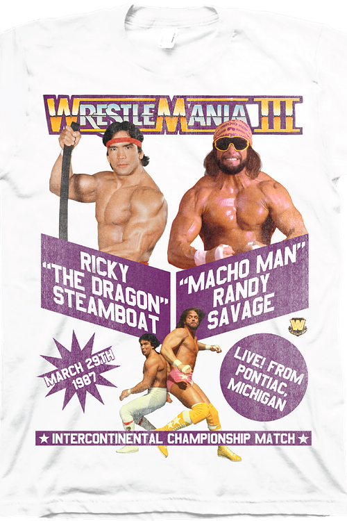 5c1a7cd0 Macho Man Ricky Steamboat WrestleMania T-Shirt: WWE Mens T-Shirt